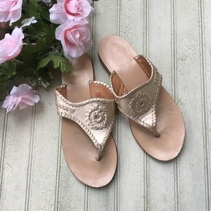 Jack Rogers Gold Blair Flip Flops Sandals